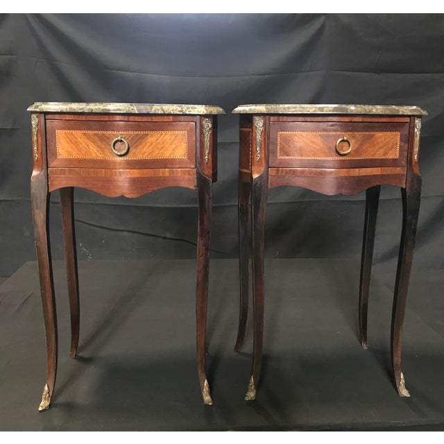 French Vintage Mahogany & Satinwood Inlay Night Stands With Marble Tops -A Pair For Sale - Image 12 of 12