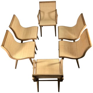 Mid-Century Dining Chairs Cerused Oak and Cane by Russel Wright - Set of 6 For Sale