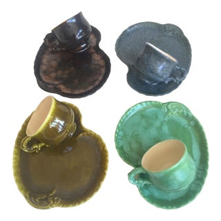 Vintage 1966 Mid Century Studio Pottery Lily Pad Ceramic Coffee Tea Dessert Service - Set of 8 For Sale
