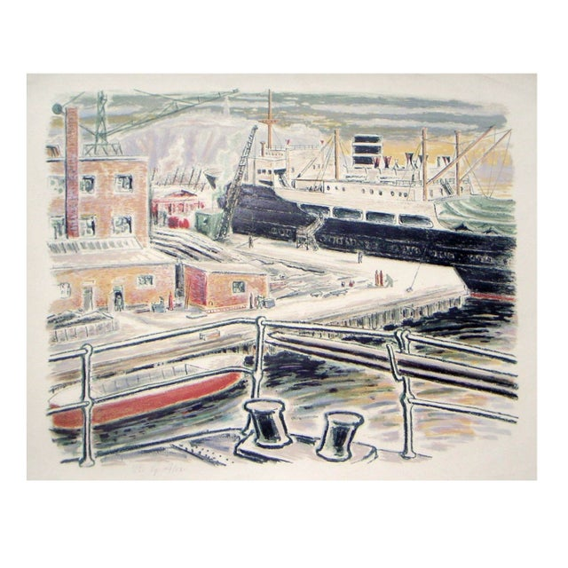 Alexanderson Swedish Harbor 1940s Color Lithograph For Sale In Sacramento - Image 6 of 6