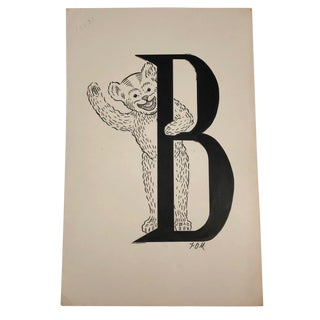 B for Bear Original Alphabet Ink Drawing For Sale