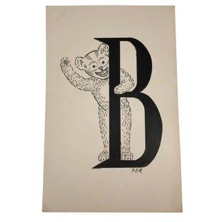 B for Bear Original Alphabet Ink Drawing For Sale