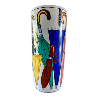 1970s Ceramic Colorful Umbrella Stand For Sale