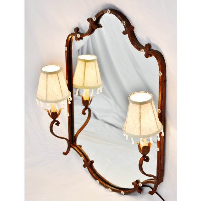 Traditional Vintage Tole Style Lighted Wall Mirror For Sale - Image 3 of 13