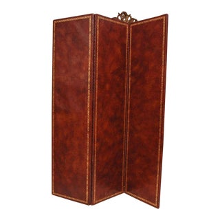 Three-Fold Leather and Gold Embossed Screen For Sale