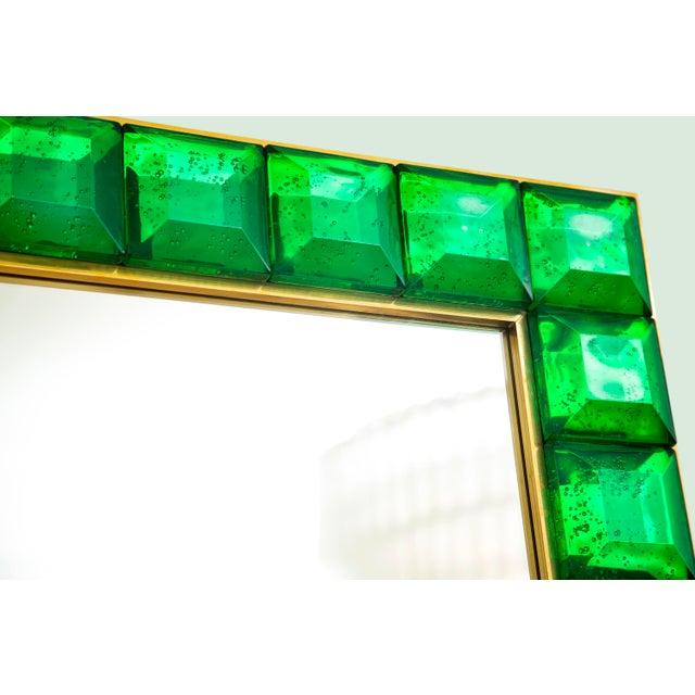 2010s Contemporary Green Diamond Murano Glass Mirror For Sale - Image 5 of 8