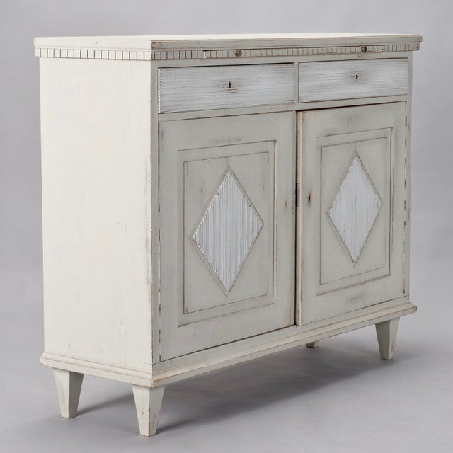Wood 19th Century Painted Swedish Buffet Cabinet For Sale - Image 7 of 11