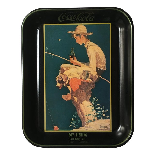 Boy Fishing, Norman Rockwell Coca-Cola Tray 1935 - Image 1 of 6