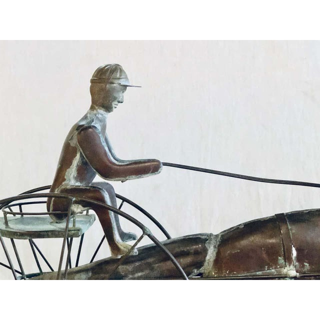 St. Julien with Sulky Molded Copper Weather Vane, attributed to J.W. Fiske, New York, last quarter 19th century, full-...