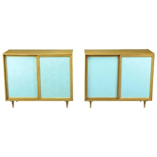 Pair Harvey Probber Tiffany Blue Leather-Front Cabinets