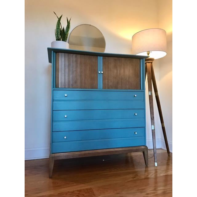 Wood Mid-Century Tallboy Dresser For Sale - Image 7 of 7