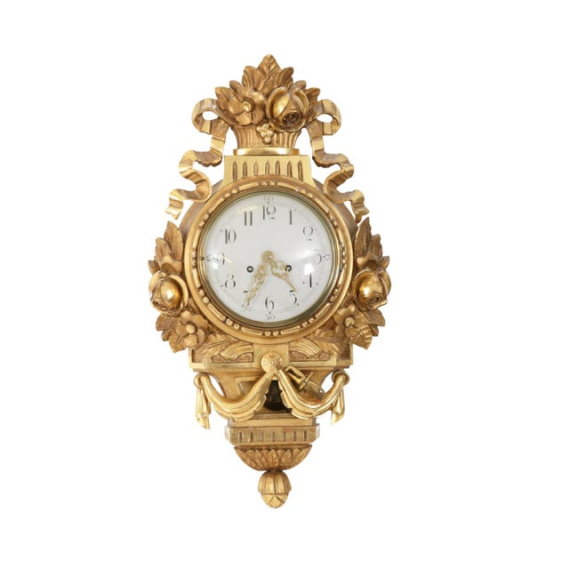 1900 - 1909 Antique Gustavian Swedish Gold Birch Wall Clock For Sale - Image 5 of 6