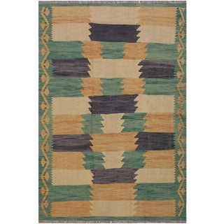 Contemporary Kilim Amada Green/Beige Hand-Woven Wool Rug - 5'1 X 6'9 For Sale