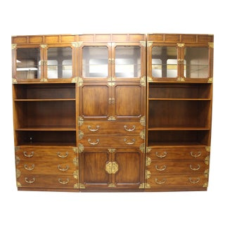 Henredon James Mont Mid-Century Asian Modern Campaign Bookcase/Wall Unit For Sale