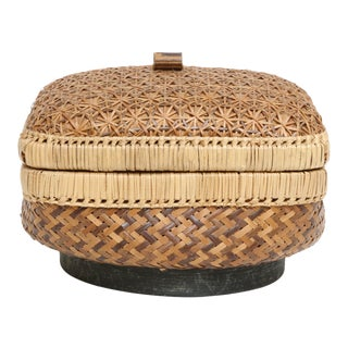 Vintage Wicker Basket Trinket Box With Lid