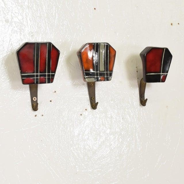 Arts & Crafts Mid-Century Modern Ceramic & Brass Decorative Coat Hat Racks Hooks - Set of 3 For Sale - Image 3 of 10