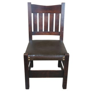 1900s Antique Gustav Stickley Oak Mission Accent Chair For Sale