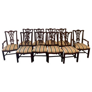 Ten Georgian Style Mahogany Dining Room Chairs, by Thomasville For Sale
