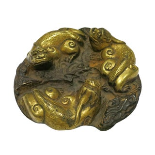 Late 18th Century Vintage Chinese Patinated and Gilt Bronze Chilong Paperweight For Sale
