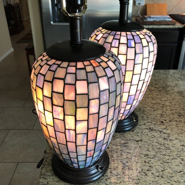 Arts and Crafts Geometric Blue Stained Glass Lamps - a Pair For Sale - Image 9 of 13