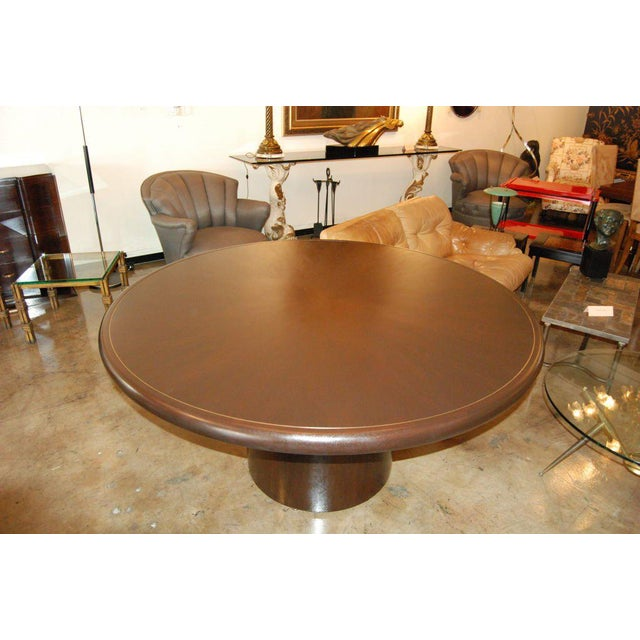 Mid-Century Modern Edward Wormley for Dunbar Round Dining or Center Table For Sale - Image 3 of 6