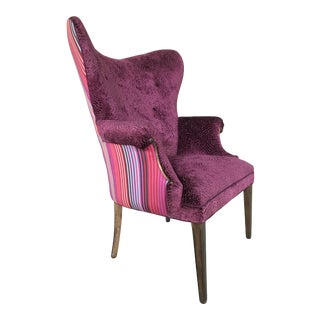 1940s Vintage Butterfly Wingback Fireside Chair Attributed to Grosfeld House Designers Guild Velvet For Sale