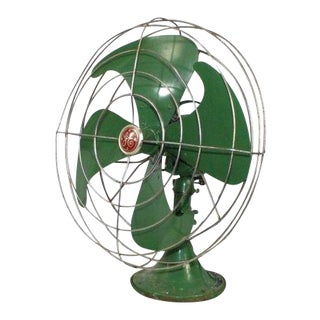 1940s Vintage General Electric Vortalex Green Steel Fan