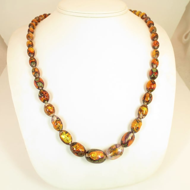 Venetian Fire Opal Foiled Glass Bead Necklace 1950s For Sale - Image 13 of 13