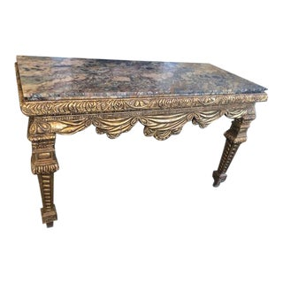 1950s French Gilt Carved Marble Top Console Table For Sale