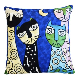 Silk Crewel Cat & Floral Abstract Feather/Down Pillow 18 For Sale
