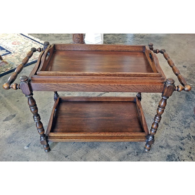 19c British Provincial Oak Butlers Tray Stand With 3 Trays For Sale - Image 9 of 13