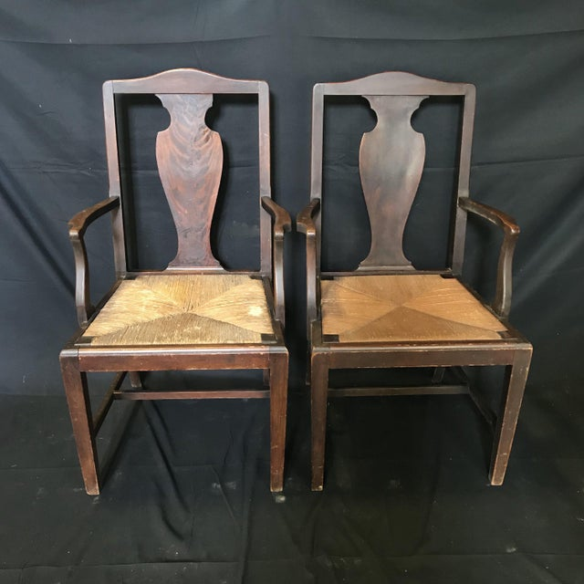 Wood Period British Chippendale Armchairs With Rush Seats -A Pair For Sale - Image 7 of 7