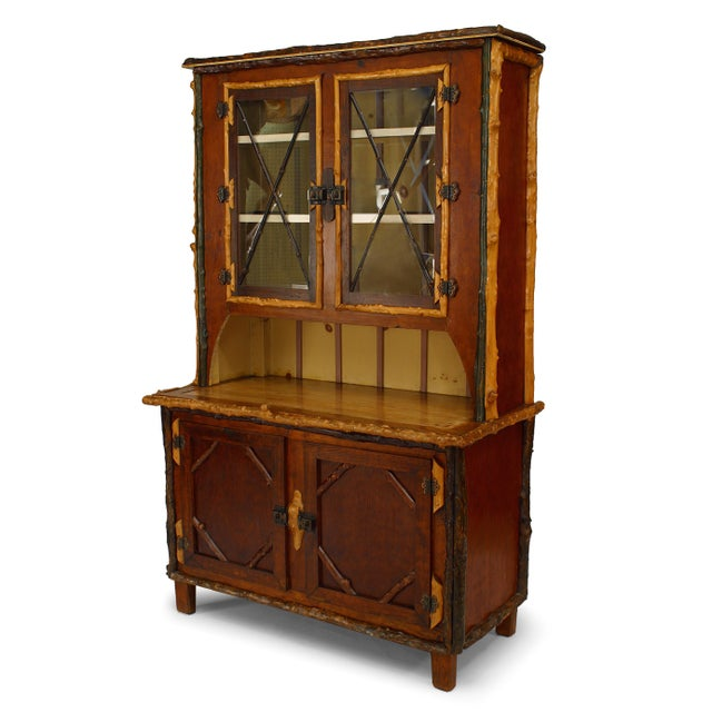 American Rustic Adirondack Style Painted Four-Door Cupboard, 19th-20th Century For Sale - Image 4 of 4