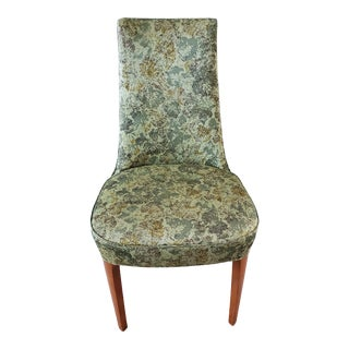 Vintage Retro Wooden Side Chair in Green Floral Upholestry For Sale