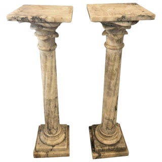 Pair Neoclassical Alabaster Pedestals Grey/White/Black Vein Flevr Dis Lis Tops For Sale