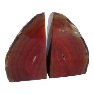 Brown Geode Bookends - A Pair For Sale