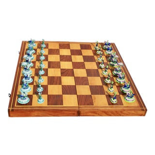 Indian Silver Enamel Mahogany Chess Set For Sale