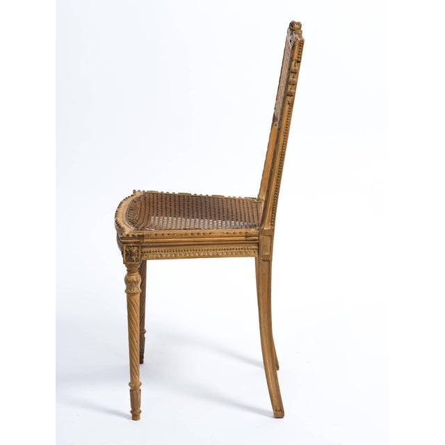 Wood 1920s Vintage Hand-Carved French Caned Side Chair For Sale - Image 7 of 8