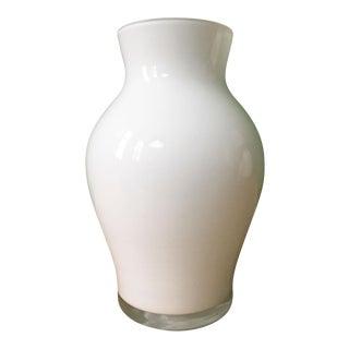 1970's Vintage Crown Staffordshire White Glass Vase For Sale