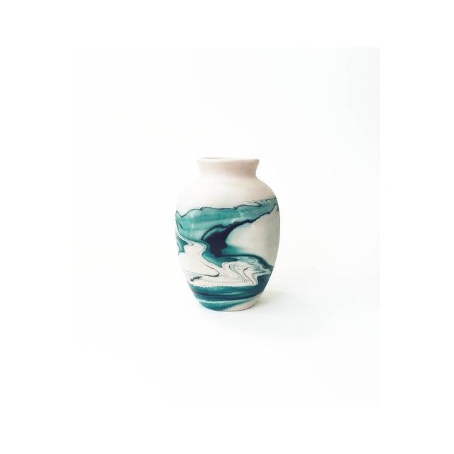 Vintage Nemadji Teal Pottery Vase - Image 2 of 5