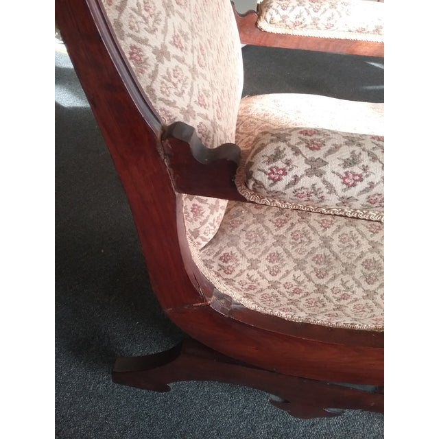19th Century Eastlake Upholstered Victorian Wood Platform Rocking Chair For Sale - Image 5 of 13