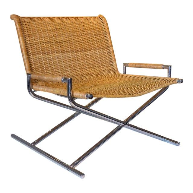 Ward Bennett Woven Sled Chrome Chair For Sale