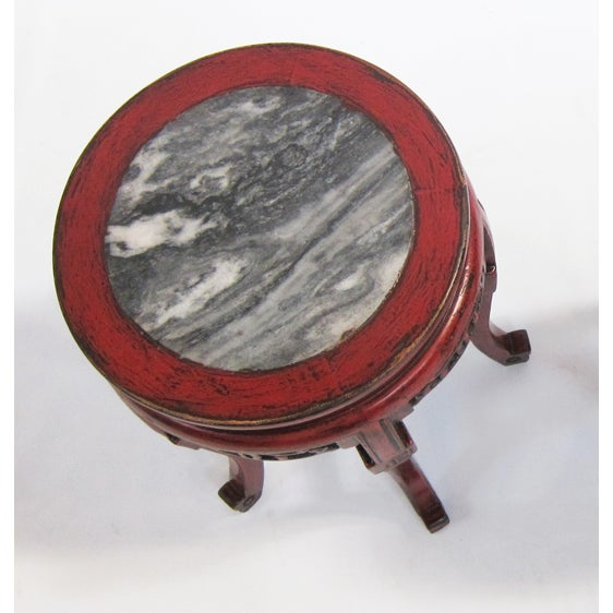 Engraved Limestone Inlay : Carved wood side table with marble inlay chairish