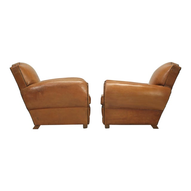 French Fully Restored Club Chairs in Original Leather - a pair For Sale