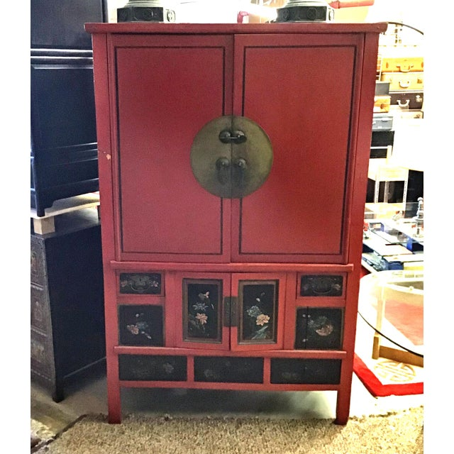 Antique Chinese Red and Black Tall Armoire For Sale - Image 13 of 13