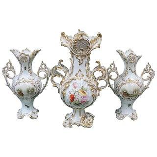 19th Century Victorian Gilded White Ceramic Vases - Set of 3