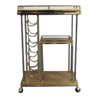 Vintage Mid Century Glass Bar Cart For Sale