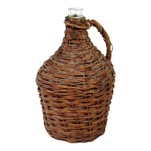 Antique Wicker Covered Wine Jug For Sale