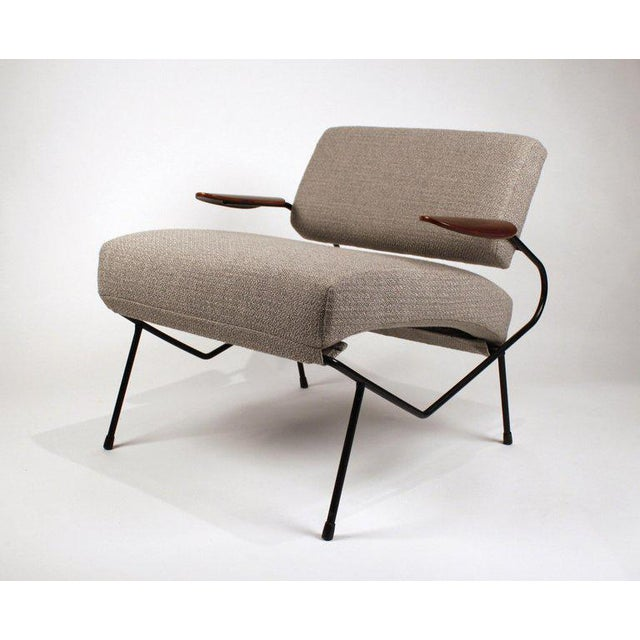 1950s Dan Johnson Iron Lounge Chair With Bent Walnut Plywood Armrests For Sale - Image 5 of 10