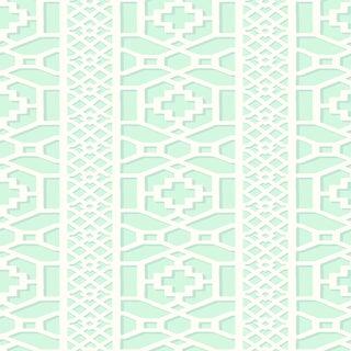 Schumacher Zanzibar Trellis Wallpaper in Winter Mint For Sale